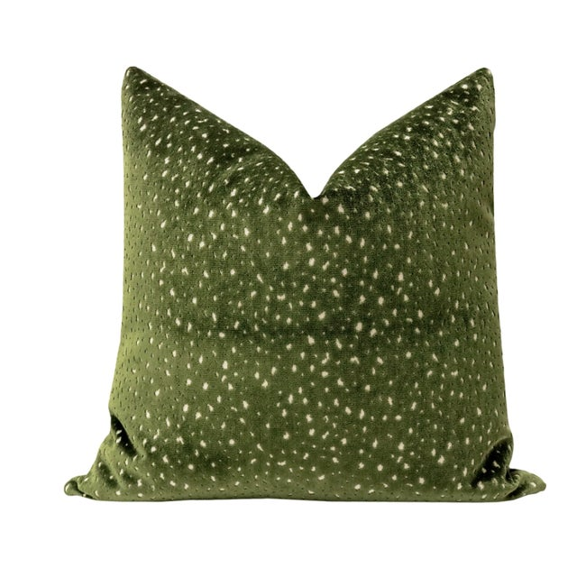 """Pair of beautiful 22"""" antelope cut velvet pillows in olive. Meticulously handcrafted with serged interior seams, invisible..."""