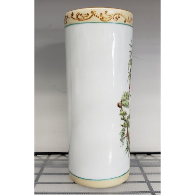 1880 French-American Chinoiserie Style Hand Painted Porcelain Wig Stand Signed H. deBaroncelli For Sale - Image 4 of 7