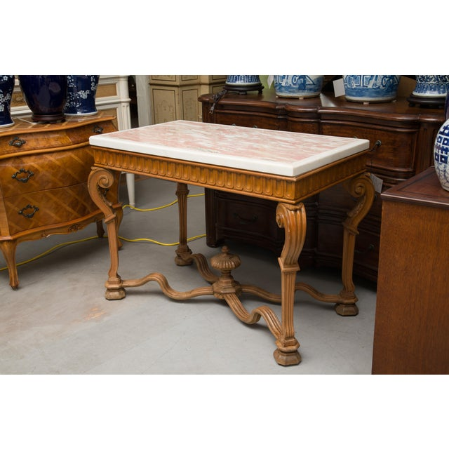 Italian Italian Beechwood Console / Center Table With Marble Top For Sale - Image 3 of 13