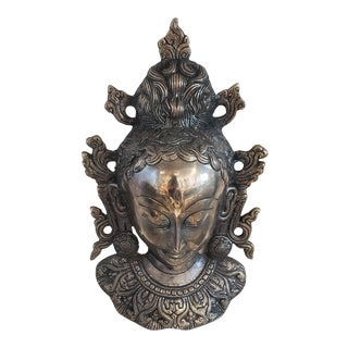 1990s Thai Silver Tone Metal Mask For Sale