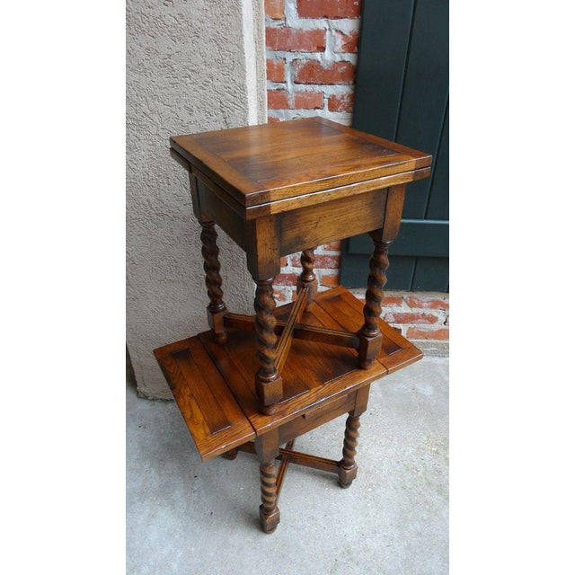 Brown Vintage Mid-Century English Draw Leaf Tea Table For Sale - Image 8 of 11