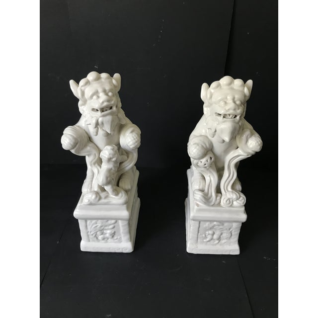 Gorgeous rare unique Pair of Chinese foo dogs Great details, both items are standing on porcelain pedestals with beautiful...