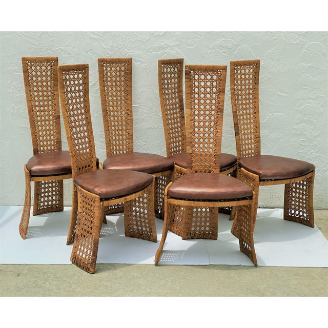 Mid-Century Modern Danny Ho Fong Dining Chairs Rattan Caning - Set of 6 For Sale - Image 13 of 13