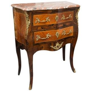 Louis XV Style Two-Drawer Commode With Marble Top, 20th Century For Sale