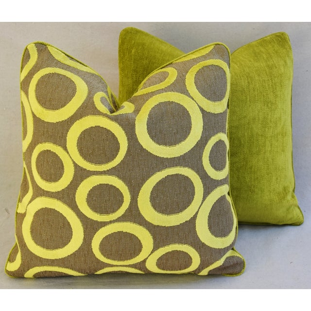 Hollywood Glam Lime Opuzen Cut Velvet Pillows - a Pair - Image 10 of 11