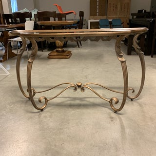 Tradtional Style Gold Finish Metal + Glass Console Table Preview
