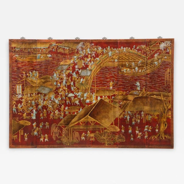 Series of Six Red Lacquered Chinoiserie Panels For Sale - Image 11 of 11
