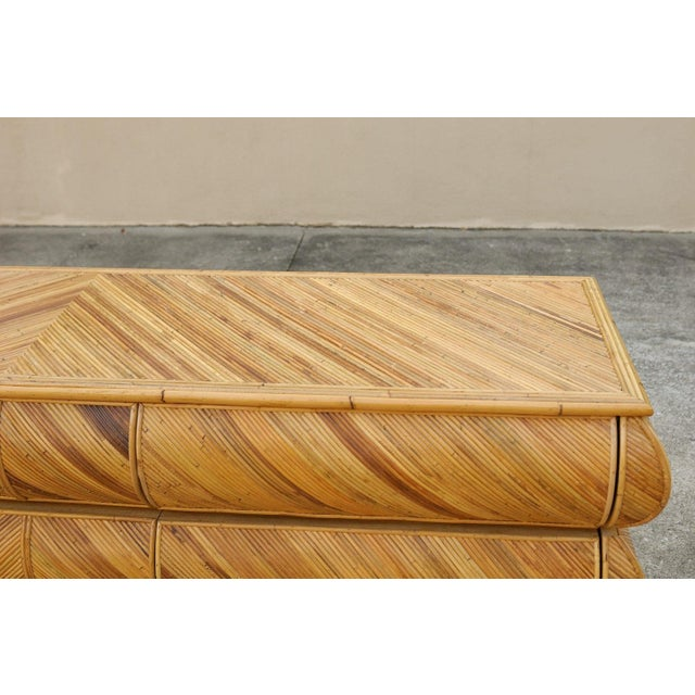 1980s Mid-Century Modern Bullnose Nine-Drawer Chest in Bamboo For Sale - Image 4 of 11