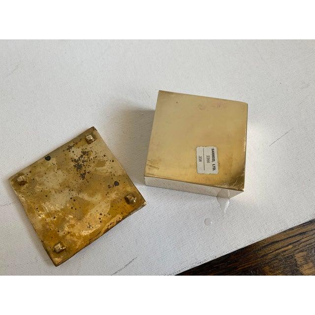 Mid-Century Modern Mid-Century Brutalist Sarreid Brass Box For Sale - Image 3 of 6