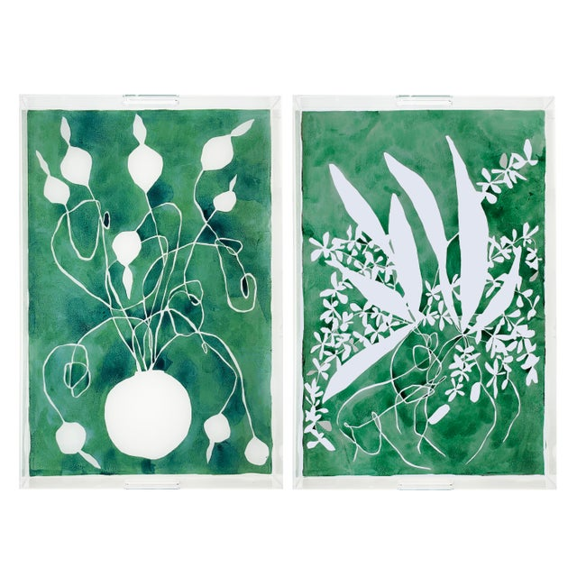 Kate Roebuck Celadon Alium and Orchard by Kate Roebuck Tray, Set of 2 For Sale - Image 4 of 4