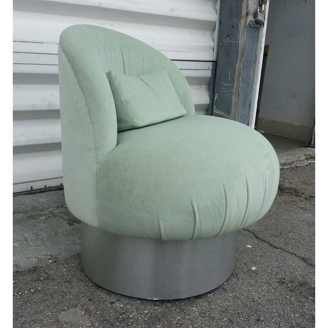 Chic 70's swivel vanity chair w fat aluminum surround manner of Milo Baughman sold as found in original estate bought...