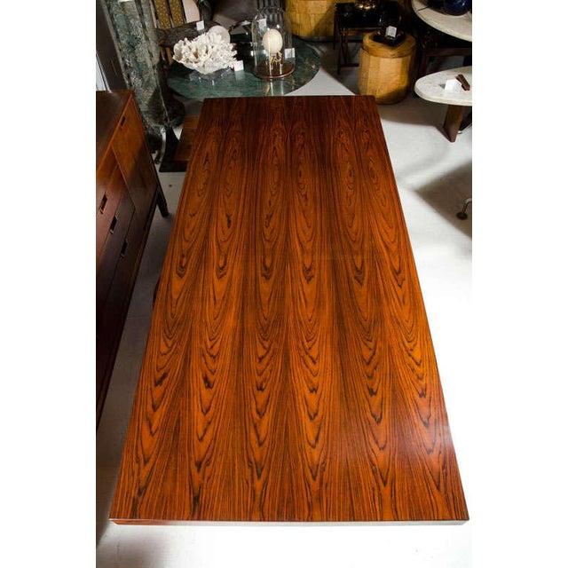 Brown Roger Sprunger for Dunbar Rosewood & Chrome Executive Desk For Sale - Image 8 of 10