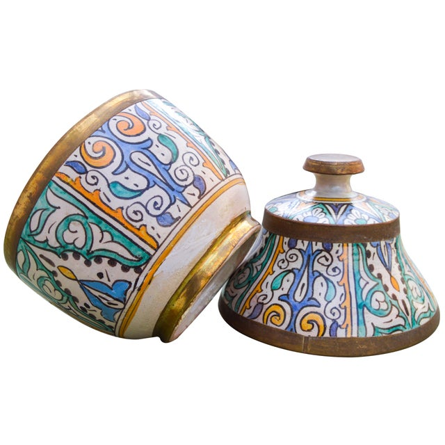 Moroccan Ceramic Lidded Bowl With Arabesque For Sale - Image 12 of 12