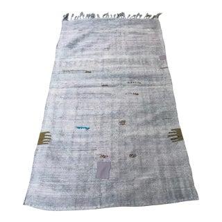 1960s Turkish Handmade Hemp Kilim Rug-3′1″ × 6′2″ For Sale
