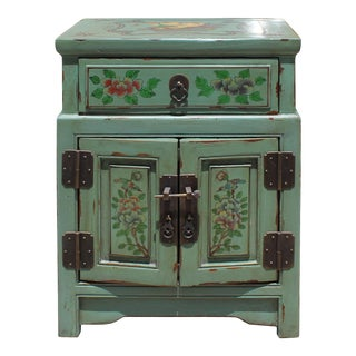 Oriental Distressed Light Avocado Green Graphic Side End Table Nightstand For Sale