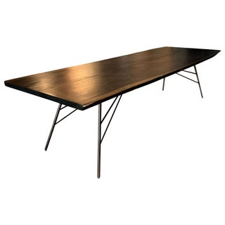 Industrial Viento Ray Dark Steel and Reclaimed Wood Dining Table Preview