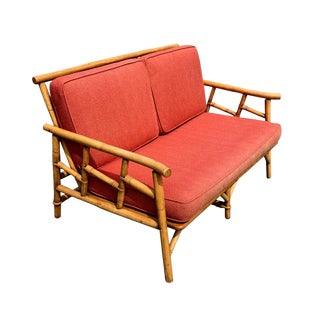 Vintage Ficks Reed Rattan Sofa Fretwork Regency Palm Beach For Sale