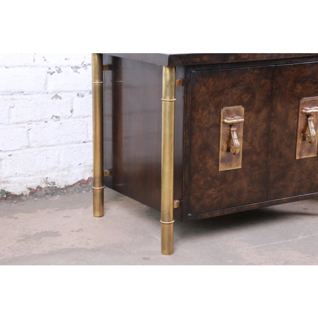 Bernhard Rohne for Mastercraft Hollywood Regency Faux Bamboo Brass and Burl Bedside Chests - a Pair For Sale - Image 9 of 12
