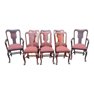 Set 8 Antique Late 19th Century Mahogany Transitional Chippendale Dining Room Chairs ~ w.k. Cowan For Sale