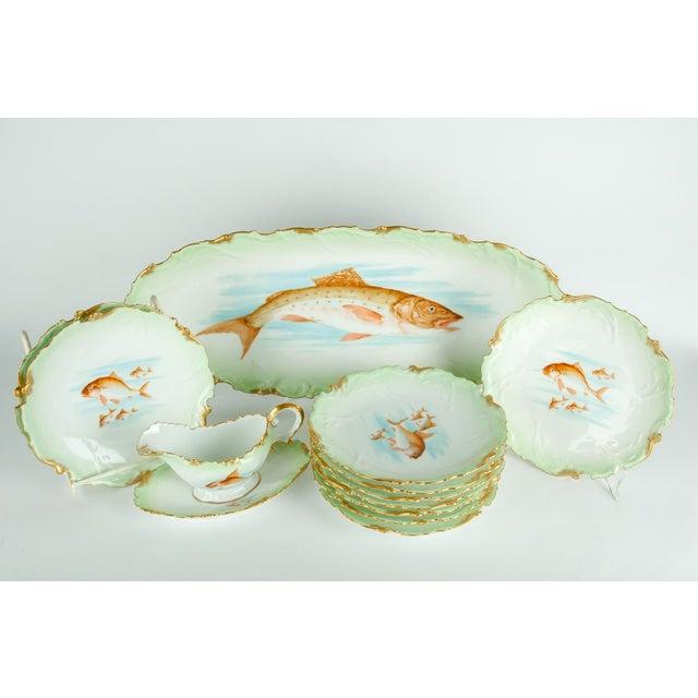 Gold Limoges Victorian Era Porcelain with 22k Gold Details & Hand Painted Fish Serving Set of 13 For Sale - Image 8 of 8