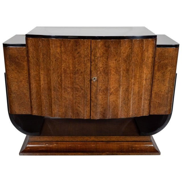 English Art Deco Streamlined Black Lacquer and Burled Carpathian Elm Cabinet For Sale