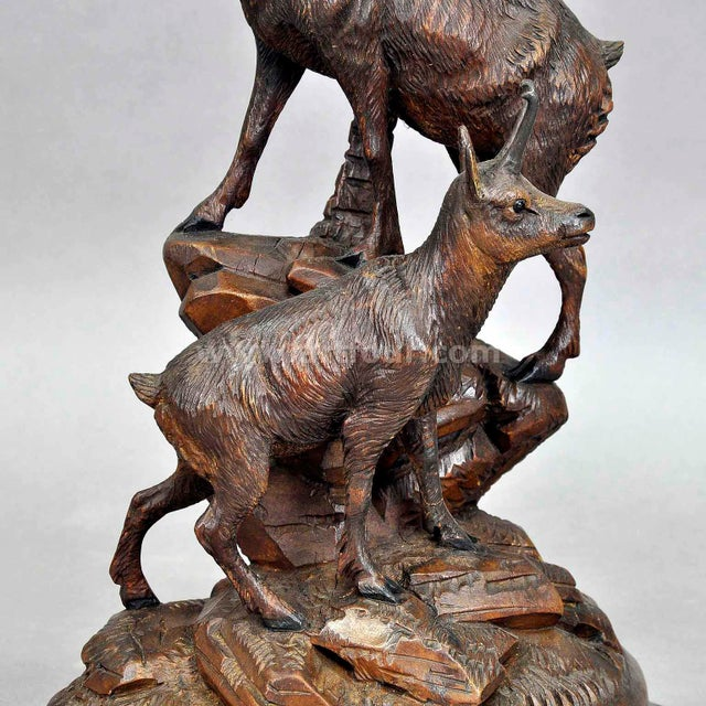 Art Deco A Carved Wood Chamois Group, Austria Ca. 1920 For Sale - Image 3 of 7
