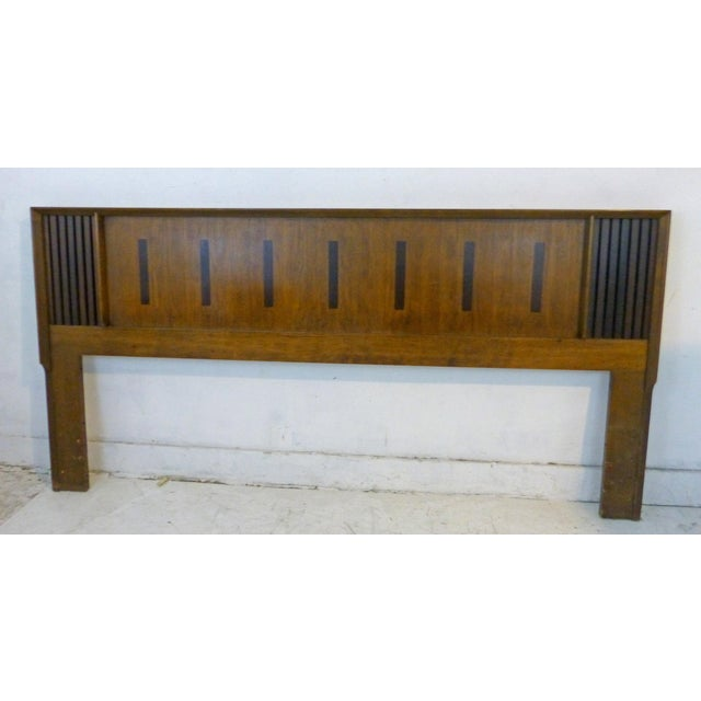 Vintage Lane King Size Ribbed Walnut and Rosewood Headboard Hard to Find - Image 8 of 10