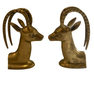 Brass Antelope Bookends For Sale