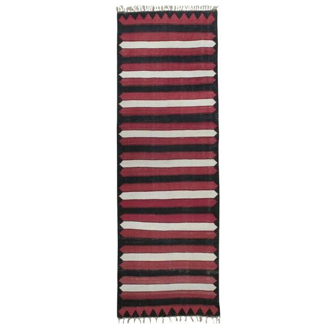 Red, White & Black Kilim (Wide Runner) For Sale
