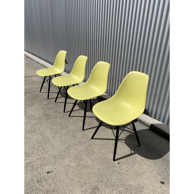 Green Charles Eames Herman Miller Lime Dowel Leg Chairs- Set of 4 For Sale - Image 8 of 8