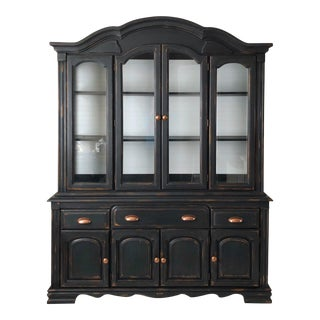 1970s American Classical Black Distressed China Cabinet For Sale