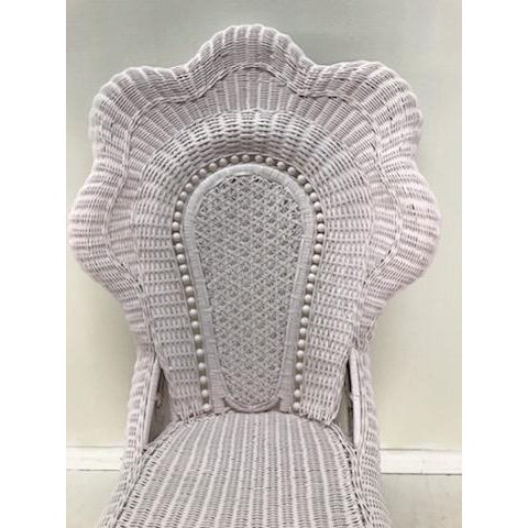 Wicker Victorian Scalloped Edged Accent Side Chair For Sale - Image 4 of 7