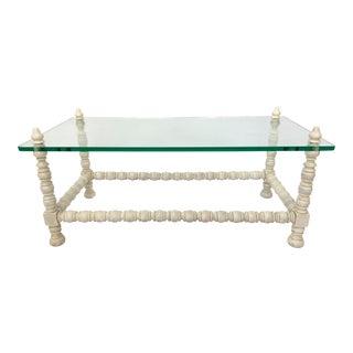 Hollywood Regency Wood & Glass Bobbin Leg Coffee Table