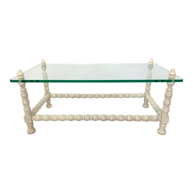 Hollywood Regency Wood & Glass Bobbin Leg Coffee Table - Image 1 of 6
