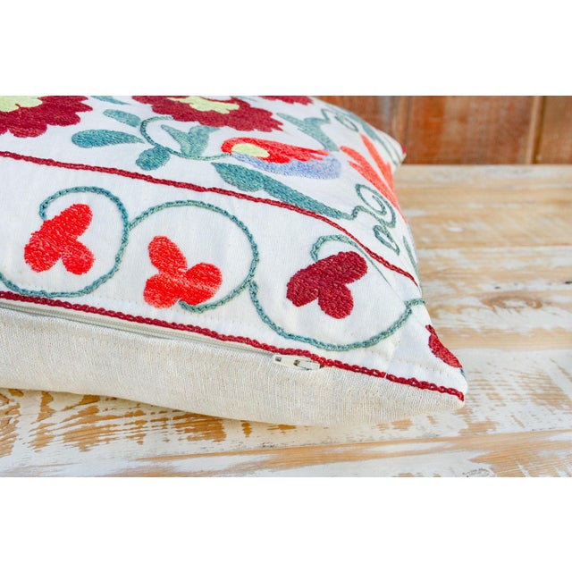 Textile Paoli Coral Floral Suzani Pillow For Sale - Image 7 of 10