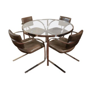 Mid-Century Brueton Chromed Solid Steel Dining Set, 1988 For Sale