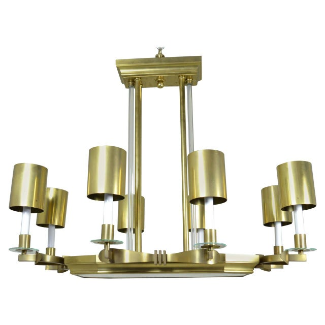 1970s Large Art Deco Style Modernist Chandelier For Sale - Image 5 of 11