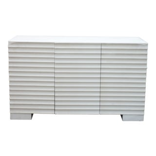 20th Century Swedish Modern White Painted Cabinet With Stridgelated Doors For Sale