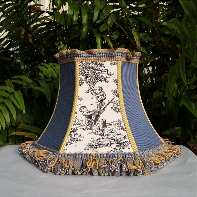 Toile Lampshade Blue Ticking Mustard Stripe Trim For Sale - Image 10 of 10