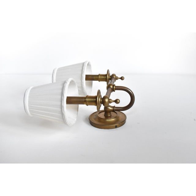 Vintage Brass Double Wall Sconce Lamps With Shades - a Pair For Sale In San Francisco - Image 6 of 10