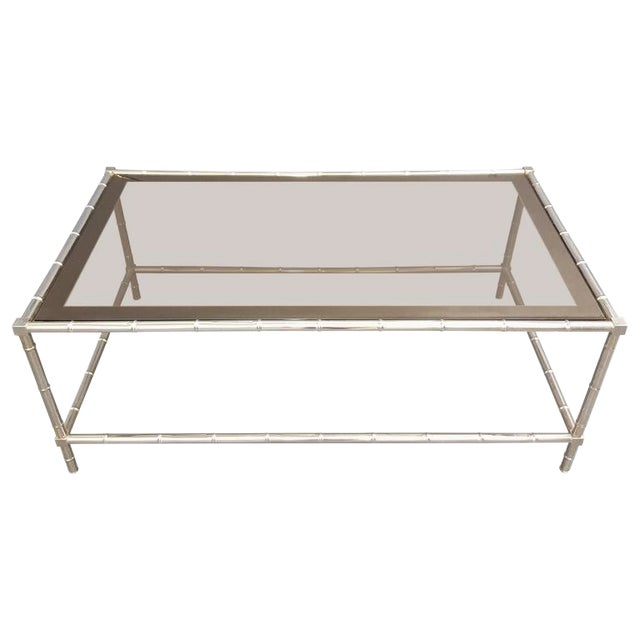 Faux Bamboo Chrome-Plated Cocktail Table with Smoked Glass Top For Sale