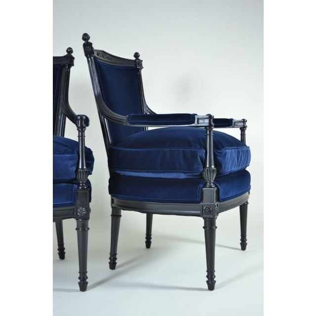 French Pair of Directoire Style Fauteuil Chairs For Sale - Image 3 of 10