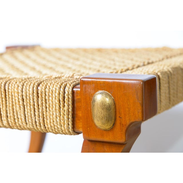 Tan Robsjohn Gibbings Style Klismos Wood & Rope Ottoman For Sale - Image 8 of 11