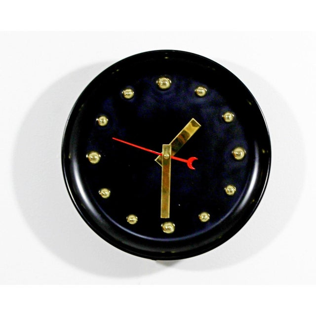 Black 1960s Mid Century Modern George Nelson Style Black Face Brass Ball Wall Clock For Sale - Image 8 of 8