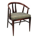 Image of Vintage Mid Century Modern Horseshoe Curved Back Mahogany Dining Chair For Sale