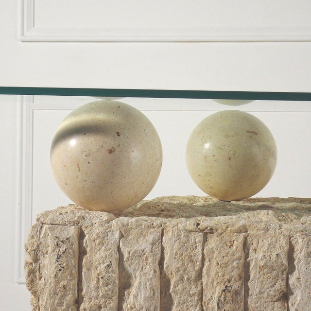 1980s Post Modern Demilune Mactan Stone Console Table For Sale - Image 5 of 6