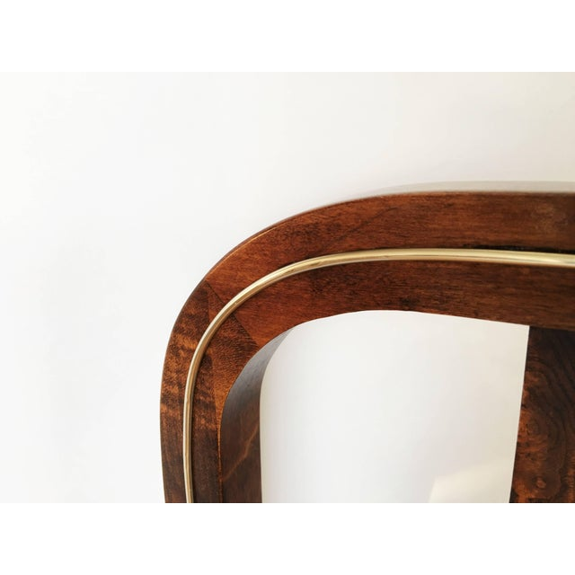 Mid-Century Modern Set of Six Burl Wood and Brass Dining Chairs by Century Furniture For Sale - Image 3 of 7