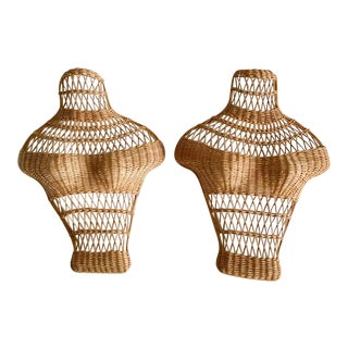 Mid Century Wicker Bust, Torso Forms, a Pair For Sale