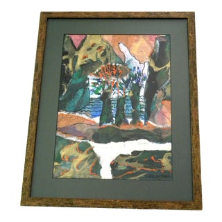 Abstract Landscape Painting Mixed Media Collage For Sale