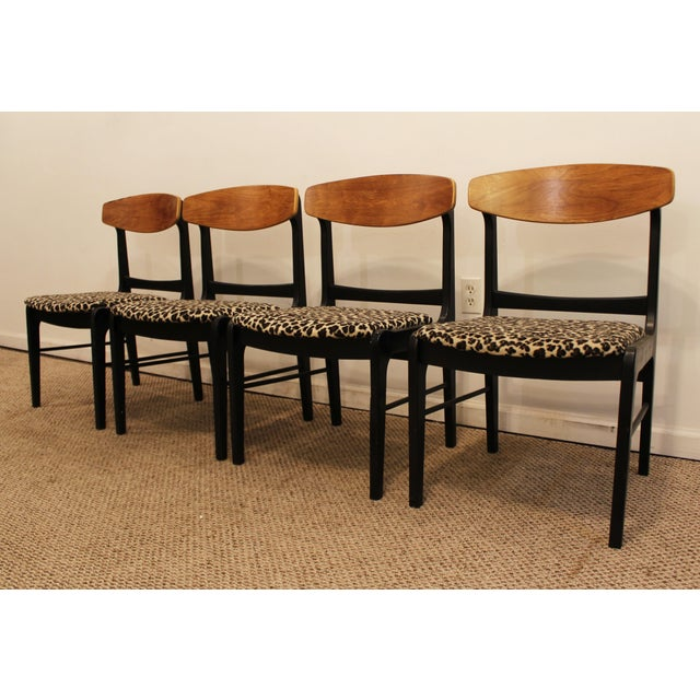 Danish Curve-Back Dining Chairs in Leopard - Set of 4 - Image 3 of 11